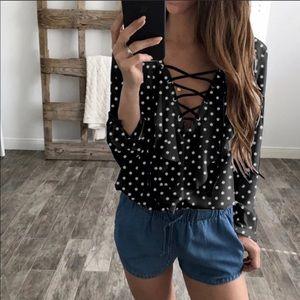▪️Polka Dot Ruffle Front Lace-Up Blouse